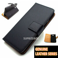 Premium Black Genuine Leather Wallet Flip Case Cover for Sony Xperia Z3 Compact