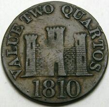 GIBRALTAR 2 Quartos 1810 - Copper - VF+ - 1836 *