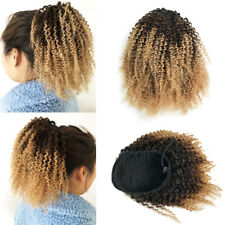 Short Afro Kinky Curly Ponytail Mongolian Clip in 100% Human Hair Afro Puff Bun
