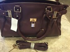 MG Collection Lucca Designer Inspired Glamour Purse Tote Handbag, Mahogany, NEW