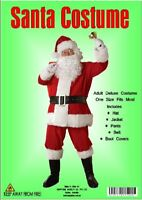 HT Mens Costume Fancy Dress Christmas Complete Santa Claus Suit Velour 8 piece