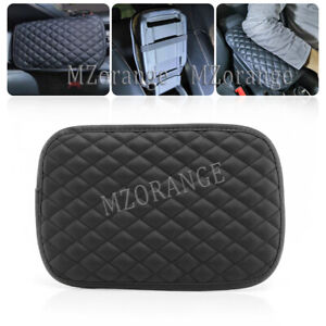 1X Car Armrest Cushion Cover Center Console Box Pad Protector Universal Black PU