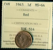 1943 Canada Small Cent, King George VI, ICCS Certified MS-64 Red  T184