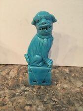 ONE VINTAGE CHINESE PORCELAIN TURQUOISE BLUE FU FOO DOG FIGURINES STATUES CHINA