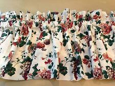 """Croscill Drapery Valance Off-White Multi-Color Floral Grapes 88.5"""" W 17.5"""" L"""
