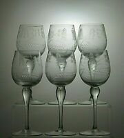 "VINTAGE LEAD ETCHED CRYSTAL TALL HOCK WINE GLASSES SET OF 6 - 7 1/8"" TALL"