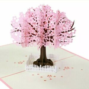 3D Pop Up Handmade Mother's Day Pink Cherry Blossom Tree Fence Greeting Card