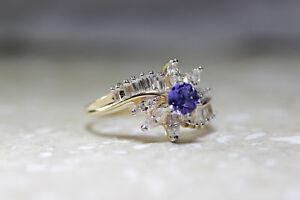 BALLERINA SETTING 14k YELLOW GOLD LADIES TANZANITE & DIAMOND ENGAGEMENT RING