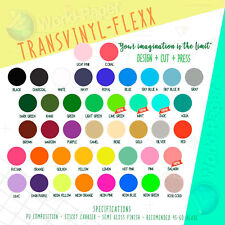 "Heat Transfer HTV Iron On Vinyl 5 Sheets 12""x15"" Transvinyl Flexx Choose Colors"