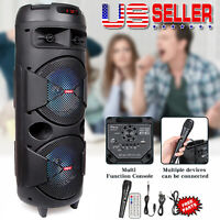 "Portable Dual 6.5"" Bluetooth Speaker Party Heavy Bass Sound With Mic Aux FM"
