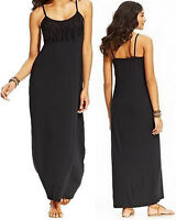 Miken Black Spaghetti Strap Fringe Swimsuit Cover Up Maxi Dress (Medium) - NWT
