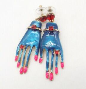 """New 2.5"""" Blue Enamel Red Rhinestone Hand Shaped Drop Pierced Earrings Pink Nails"""