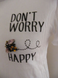 PRIMARK DON'T WORRY BEE HAPPY T-SHIRT SIZE 8 WITH JEWELLED BUMBLE BEE BEAUTIFUL