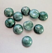 10 x Vintage Mottled Green Glass Unfoiled Flatback Cabochons -  approx 11 mm