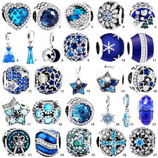 CZ European Blue star S925 silver charms pendant beads For 925 sterling Bracelet