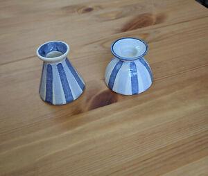 Hedwig Bollhagen, Kerzenständer, Vase, Dekor 137, Streifen blau-weiß, Keramik