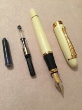JINHAO X450 IVORY GT FOUNTAIN PEN-MEDIUM NIB-CONVERTER-BLUE CARTRIDGE-UK SELLER