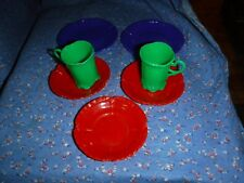 Vintage Banner USA Plastic Childs Dishes Colorful 2 Plate 3 Saucers 2 Cups
