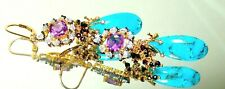 14K Gold GF Leverback Amethyst Copper Turquoise Gemstone Briolette Earrings