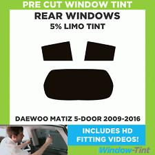 Pre Cut Window Tint - Daewoo Matiz 5-door 2009-2016 - 5% Limo Rear