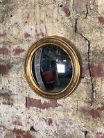 """Glace / miroir rond """"Louise"""" doré patiné avec oeil de sorcière diam 26 cm"""