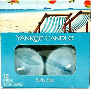 1 Box Yankee Candle Salty Sea 12 Scented Tea Light Candles Burn 4 To 6 Hours