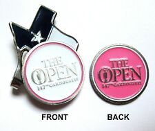 2018 BRITISH OPEN CARMOUSTIE, 2-SIDED, WHITE/PINK Ball Marker & TX FLAG HAT CLIP