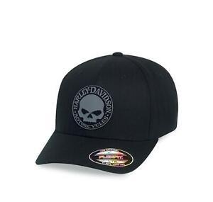 HARLEY-DAVIDSON® MEN'S RUBBER SKULL PATCH STRETCH BASEBALL CAP 99409-16VM L/XL