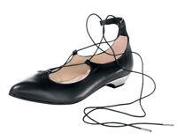 HEINE Damen ECHT LEDER Sling-Ballerinas mit Metallabsatz Nappaleder Schwarz 40