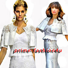 Dolce Gabbana White Linen Embroidered Lace Bolero Jacket