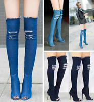 Denim Cowboy Over Knee Thigh High Party Women's Heel Boots Pumps Shoes for Women