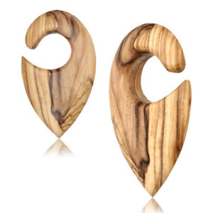 """PAIR 9/16"""" INCH OLIVE WOOD EAR WEIGHTS SPIRALS GAUGES HOOPS PLUGS TUNNELS TALONS"""