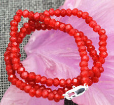 """New 2x4mm Faceted Red Ruby Handmade Gemstone necklace 18"""" Silver clasps AAA"""