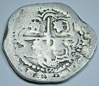 1500's Spanish Potosi R Silver 2 Reales Piece of 8 Real Antique Two Bit Cob Coin