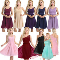 Women Ladies V Neck Lace Short Prom Evening Party Bridesmaid Wedding Dress Gowns