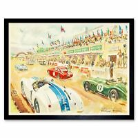 Paintings Sport Le Mans Motor Race 1952 Stand Car 12X16 Inch Framed Art Print