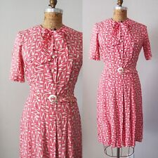 1940's Cold Rayon Novelty Dress True Vintage Pink Pussy Bow