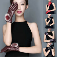 1 Pair Classy Womens Sexy Rabbit Fur Ball Faux Leather Winter Mitten Gloves