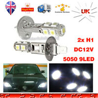 2X H1 9Smd 5050 Fog Lights Led 6000K White Car Headlight DRL Xenon Bulbs 12V