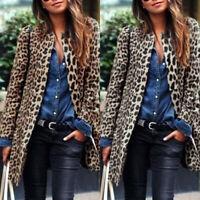 ZANZEA Femme Cardigans Manche Longue Imprimé léopard Simple Casuel Manteau Plus