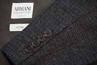 Armani Collezioni G Line Gray Brown Plaid Woven Flannel Sport Coat Jacket 42