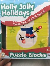 Holly Jolly Holidays Stacking Wooden Puzzle Blocks 2+ Years 6 Characters