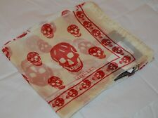 Authentic New w Tags Alexander McQueen Bone (Ivory) Red Skull Silk Scarf Chiffon
