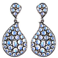 11.96 Ct Moonstone Pave Diamond Fine Dangle Earrings 925 Sterling Silver Jewelry
