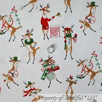 BonEful FABRIC FQ Cotton Quilt US Xmas Red White Rudolph Red Nosed Rein*deer B&W