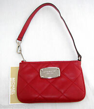MICHAEL KORS HAMILTON QUILT RED LEATHER WRISTLET,CLUTCH,WALLET MSRP NEW