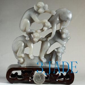 Natural Hetian Nephrite Jade Five Little Monkeys Carving Statue w/ certificate