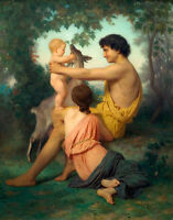 Oil painting Bouguereau - Idylle happy family with goat in landscape canvas 36""