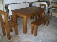 (any size made) SOLID WOODEN DINING TABLE BENCHES SEATS CHUNKY RUSTIC PLANK PINE