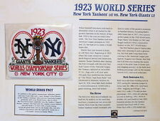 1923 WORLD SERIES PATCH CARD Willabee & Ward NEW YORK YANKEES vs NEW YORK GIANTS